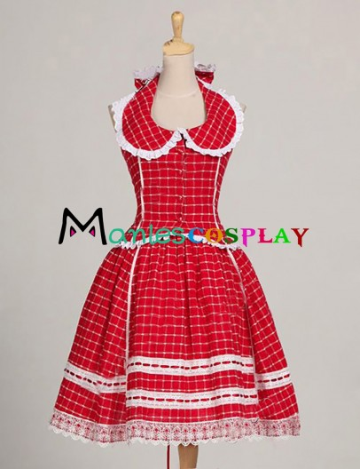 1950s Romantic Chic Halterneck Tartan Patterned Lace Dolly Collar Dress