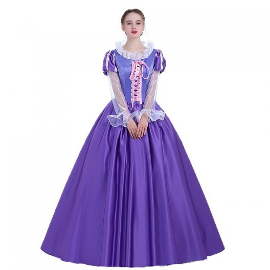 Rapunzel Queen Cosplay Costume Tangled Princess Dress