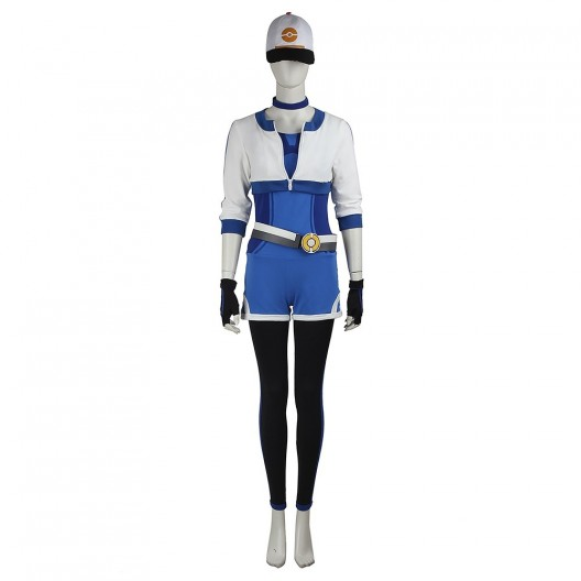 Female Monster Trainer Blue Costume For Pokemon GO Cosplay