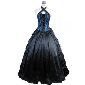 Victorian Punk Lolita Vintage Halter Sleeveless Floral Print Ruffles Falbala Dress