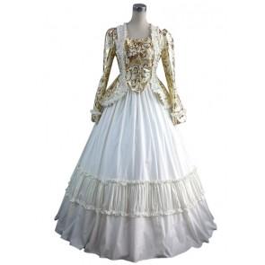 Gorgeous Herrlich Vintage Top Skirt Floral Print Lace Frilled Floor Length Dress