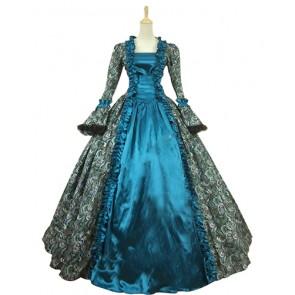 Victorian Georgian Period Retro Flower Printed Ruffles Lace Ball Gown Dress