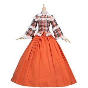 Civil War Lolita Retro Turtle Neck Lace Frill Plaid Patchwork Floor Length Tartan Dress