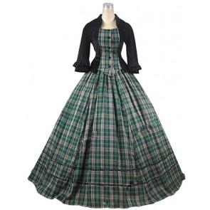 Elegant Classical Gothic U Neck Ruffles Lace Plaid Patchwork Ball Gown Prom Dress