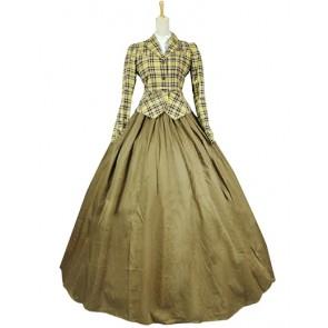 Victorian Vintage Jacket Skirt Tartan Ruffled Ball Gown Dress