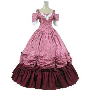 Sweet Dolly Lolita Slash Neck Lace Ruffles Floral Printed Ball Gown Dress
