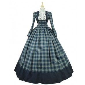 Gorgeous Herrlich Retro Long Sleeves Turtle Neck Plaid Patchwork Lace Ball Gown Prom Dress
