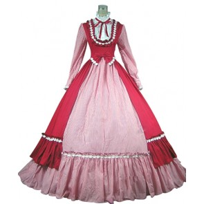 Southern Belle Lolita Turtle Neck Color Collision Ruffles Lace Tiered Floor Length Fancy Dress