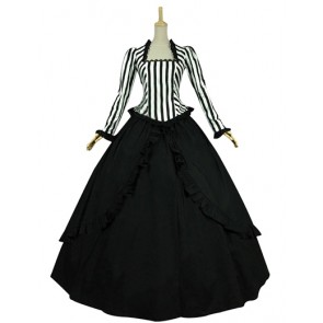 Elegant Classic Klassiker Lolita Stripes U Neck Long Sleeves Lace Ruffles Falbala Floor Length Dress