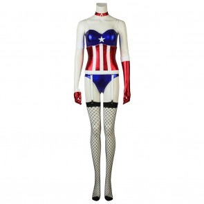 Female Halloween Jumpsuit Costume For Captain America Cosplay