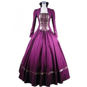 Lolita Vintage Reenactment Flower Printed Frilled Brocaded Ball Gown Dress