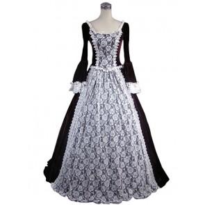 Edwardian Lolita Vintage Slash Neck Velvet Lace Floral Floor Length Dress