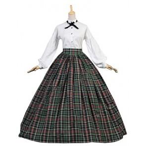 Elegant Gothic Classic Lolita Scottish Skirt Tarten Shirt Day Floor Length Dress