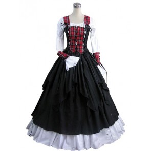 Civil War Lolita Vintage Tartan Lace-up Puff Sleeves Ball Gown Dress