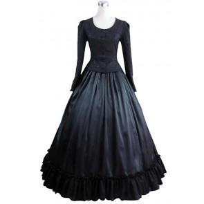 Civil War Victorian Retro Brocaded Ball Gown Black Top Lace Dress