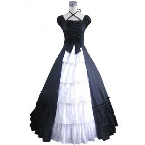 Romantic Romantik Lolita Vintage Color Collision Strap Kleid Sleeve Dress
