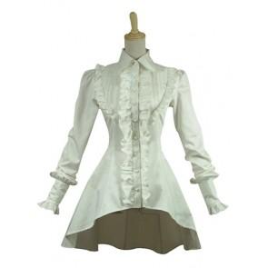 Gothic Lolita Vintage Turtle Neck Long Sleeves Ruffles Asymmetrical Shirt