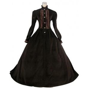 Victorian Gothic Lolita Retro Turtle Neck Long Sleeves Button Lace Ruffles Corduroy Floor Length Dress