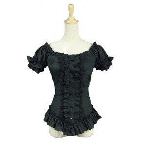 Southern Belle Gothic Lolita Ruffles Lace Slash Neck Short Sleeves Shirt