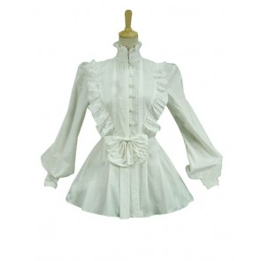 Victorian Vintage Punk Lolita Turtle Neck Long Sleeves Ruffles Frill Shirt
