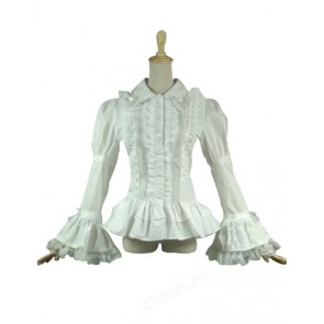 Gothic Lolita Victorian Punk Ruffles Lace Cape Blouse Bow-knot Shirt