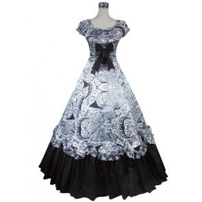 Edwardian Reenactment Vintage Floral Print Lace Frilled Floor Length Dress