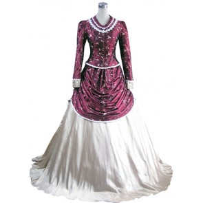 Southern Belle Vintage Long Lace Frill Embroidered Floral Floor Length Ball Gown Dress